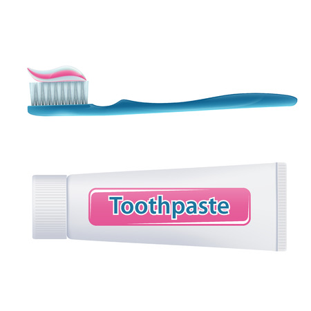 Brosse à dents avec du dentifrice et un tube isolé sur fond blanc. Stock illustration.