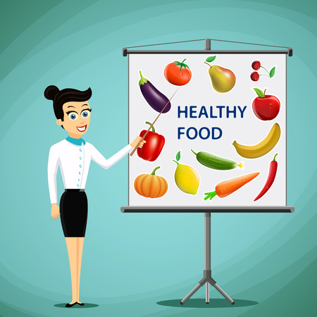 cartoon board: Girl shows on board fruits and vegetables. Healthy food. Stock illustration.