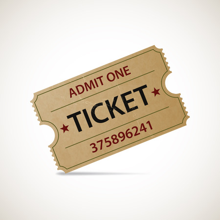 paper old: Realistic icon cinema ticket. Stock illustration. Illustration