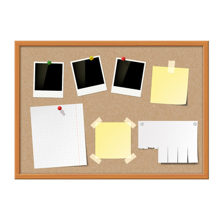 pinboard: Empty photo frames, paper notes and yellow stickers attached to cork message board. Stock vector illustration. Illustration