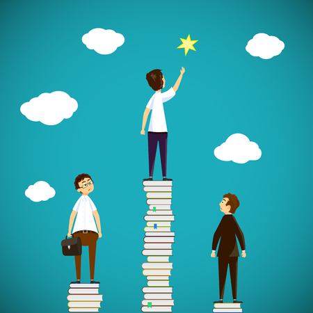 Man standing on a stack of books. Scientific discoveries, and education. Stock vector illustration.