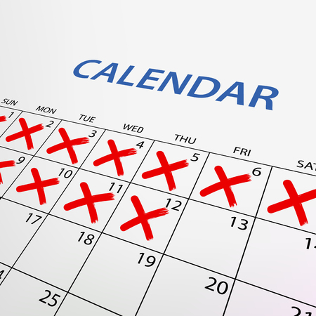 crossed out: Calendar with red marks. Stock vector illustration.