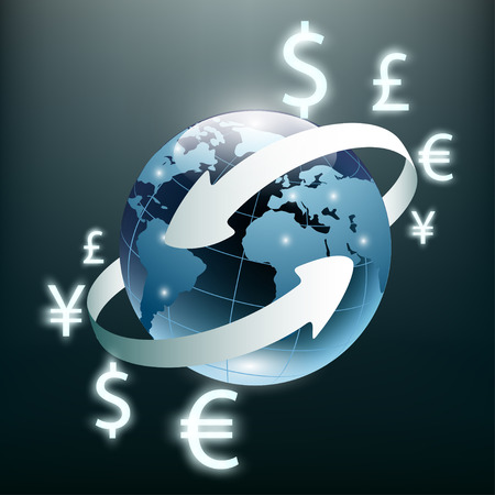 transfer: Money transfer and Global Currency. Stock Exchange. Stock vector illustration. Illustration
