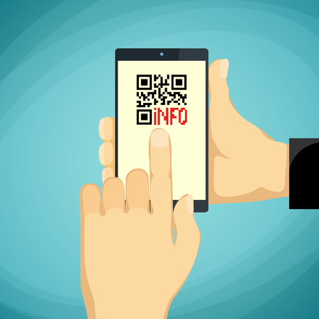 qrcode: Man holding a smartphone. QR-code on the phone screen. Stock vector illustration.