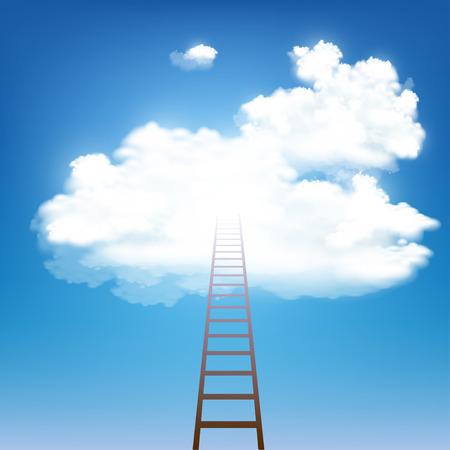 cielo: Escalera se eleva a las nubes. Ilustración vectorial material.