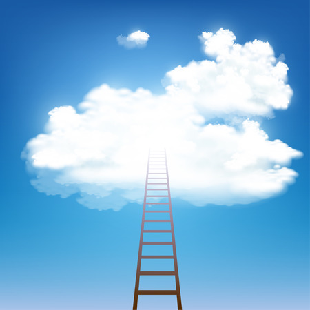 Stairway rises to the clouds. Stock vector illustration.