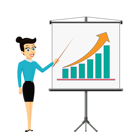 financial growth: Woman businessman showing on the board financial graph of growth profit. Stock Vector cartoon illustration.