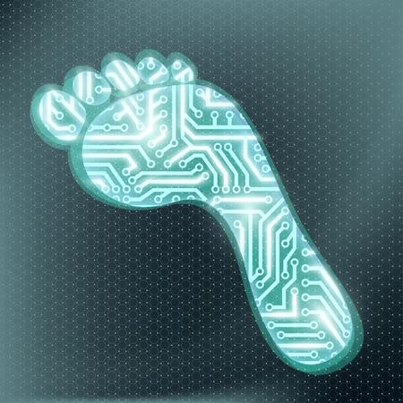 icono ordenador: Huella en forma de circuito tecnológico. chip electrónico. Vector ilustración stock.