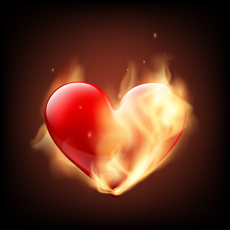 infarct: Red human heart on fire. Isolated on black background. Stock Vector illustration.