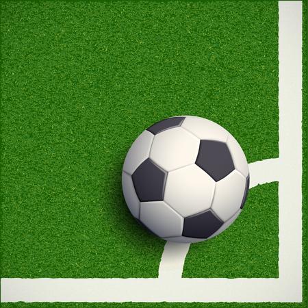 ballsport: Soccer ball on grass. Football stadium. Stock vector illustration.