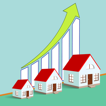 real estate growth: Construction of real estate. Growth chart. Stock vector illustration.