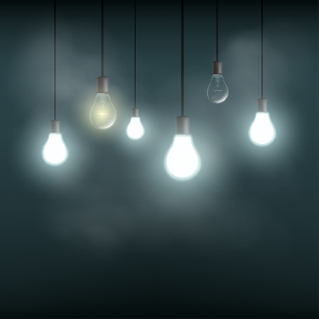 street lamps: Light bulbs hanging on wires. Stock vector illustration. Illustration