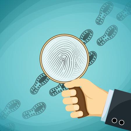 fingermark: Detective holding a magnifying glass. Fingerprint. Stock Vector cartoon illustration.