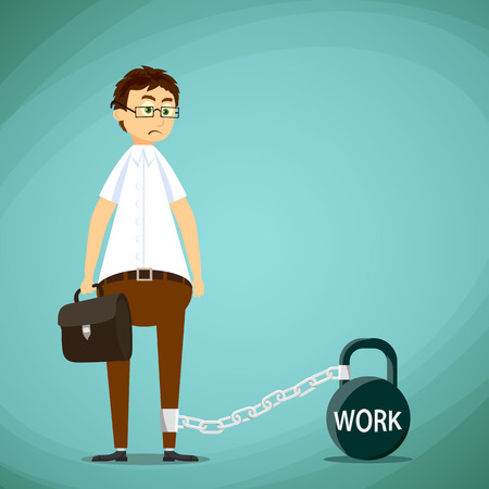 chained: Man chained to the weight with the inscription work. Stock Vector cartoon illustration.