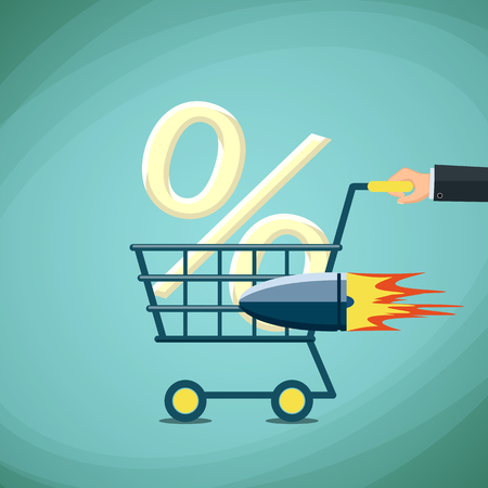 percentage sign: Man carries a shopping cart with percentage sign. Stock Vector cartoon illustration.