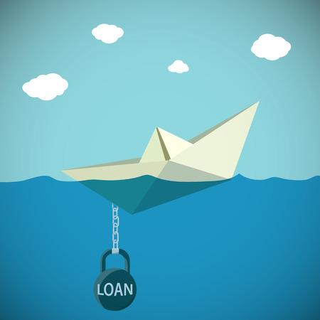 pelota caricatura: Barco de papel encadenado al peso con el préstamo de inscripción. Stock Vector ilustración de dibujos animados.