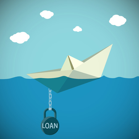 Paper Boat chained to the weight with the inscription loan. Stock Vector cartoon illustration. Illustration