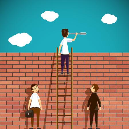 standing man: Man standing on a ladder. Brick wall. Stock Vector cartoon illustration.