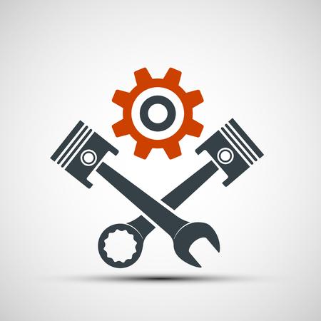 Logo motor met zuigers en een moersleutel. Stock vector illustratie. Stock Illustratie