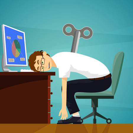tired worker: Tired worker sits at the workplace. Clockwork key. Stock Vector cartoon illustration.