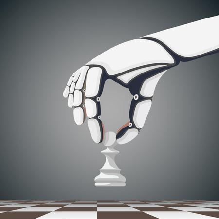 mano robotica: el brazo robot con un peón de ajedrez. Inteligencia artificial. ilustración de la historieta. Vectores