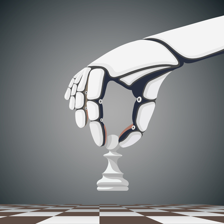 hand illustration: Robot arm holding a chess pawn. Artificial Intelligence. Stock cartoon illustration. Illustration