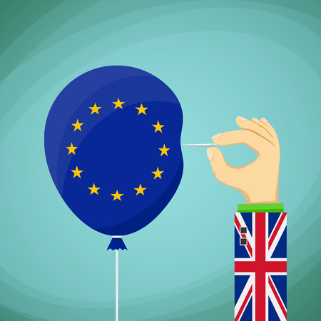 skeptical: Briton with a needle in his hand and a balloon with the flag of the European Union. Stock cartoon illustration. Illustration