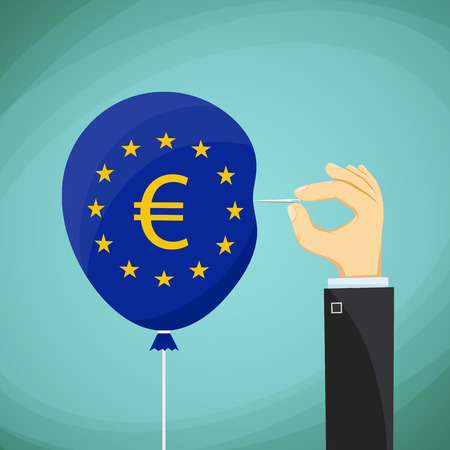 skeptical: Human hand with a needle and a balloon with the flag of the European Union. Stock cartoon illustration.
