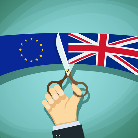 skeptical: Human hand with scissors cuts the flags of Great Britain and the European Union. Stock cartoon illustration.