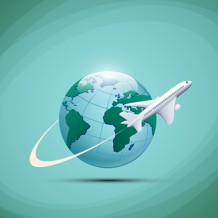 low cost: Airplane flies around the earth planet. Stock illustration.