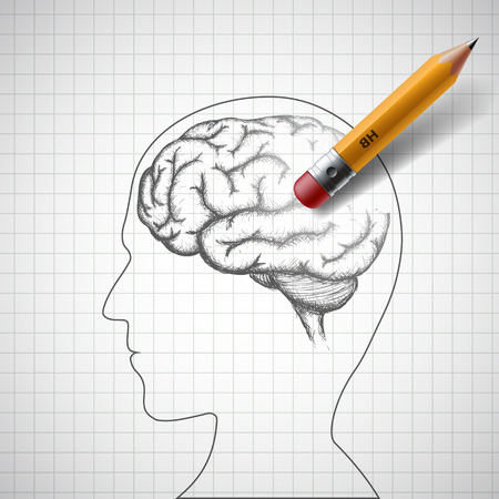 Pencil erases the human brain. Alzheimer disease. Stock illustration. Çizim