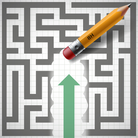 Pencil erases maze and New opportunities. Stock illustration. Illustration