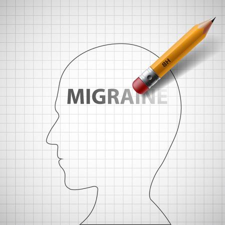 migraine: Pencil erases the word migraine in the human head. Stock illustration.