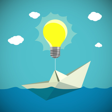 buoyant: Paper Boat hanging on the light bulb. Stock illustration.