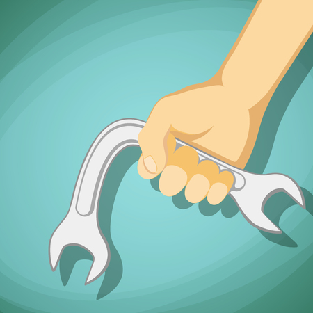 impotence: Curved Wrench in hand of man. Impotence disease. Stock cartoon illustration.