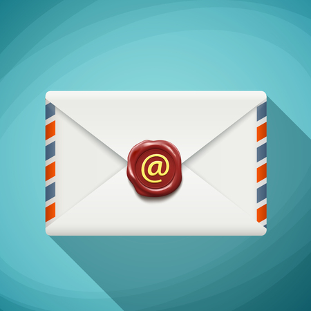 Icon envelope with wax seal. Sign email. Flat design. Stock illustration.