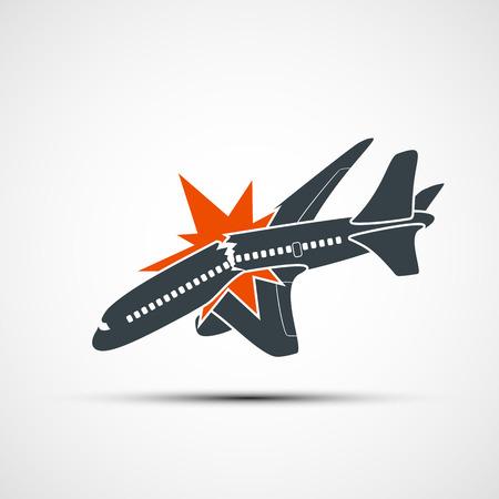 explosion engine: Icon plane crash. Terrorist act in the air. Stock illustration.