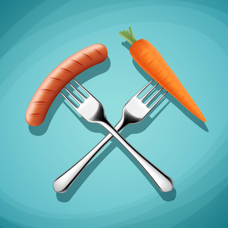 wholesome: Fork with sausage and carrots. Harmful and wholesome food. Stock illustration. Illustration
