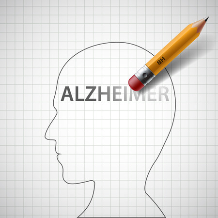 Pencil erases the word Alzheimer in the human head. Stock illustration.