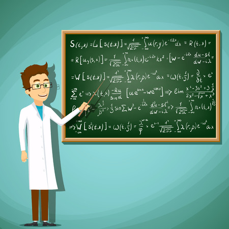 equation: Man in white lab coat standing next to a chalkboard. Mathematical equation. Stock cartoon illustration.
