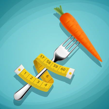 overeating: Fork with a carrot and a measuring tape. Healthy food. Weight loss and fitness. Stock illustration.