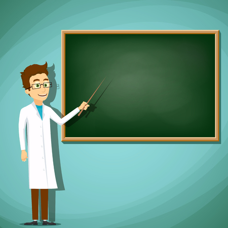 lab coat: Man in white lab coat standing next to the board. Stock cartoon illustration.
