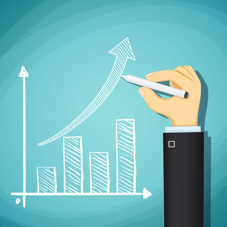 growth chart: Human hand drawn growth chart. Success in business. Stock cartoon illustration