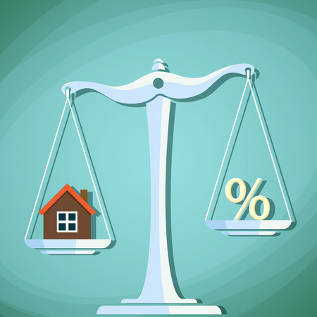 valuation: Scales for weighing with a house and percent sign. Illustration
