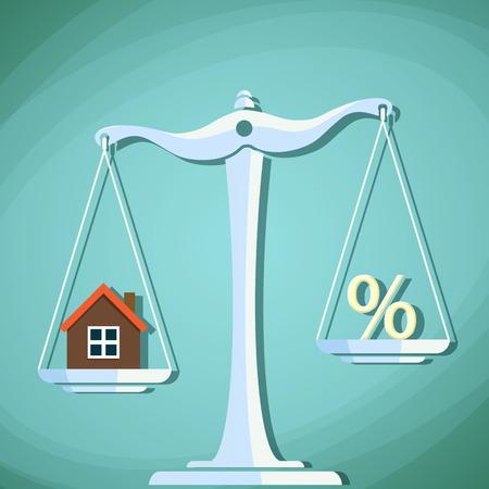 Waagen für die mit einem Haus und Prozentzeichen mit einem Gewicht.