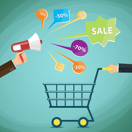 purchases: Man with a shopping cart. Discounts, promotions and advertising. Illustration