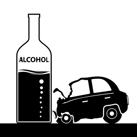 drug addict: Bottle with alcohol, a car accident. Drunkenness and driving. Illustration