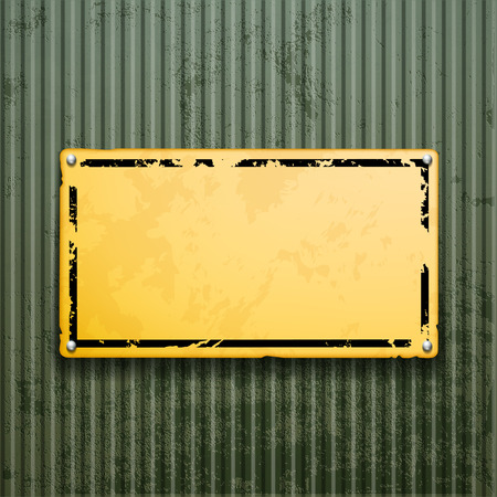 peel off: Yellow metal plate on grunge old surface. Industrial background. Illustration