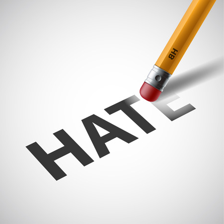 hate: Pencil erases the word hate on paper.