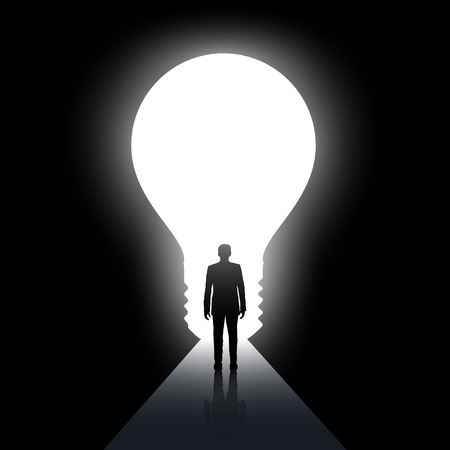 overcoming: Man walks along the dark corridor. Exit in the form of light bulb. Stock illustration.